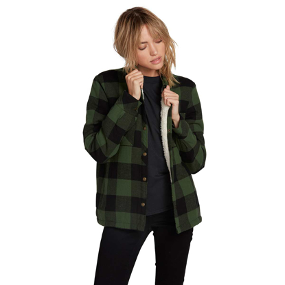 VOLCOM PLAID ABOUT YOU L/S W GRN M