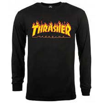 THRASHER MAGAZINE FLAME L/S BLK S
