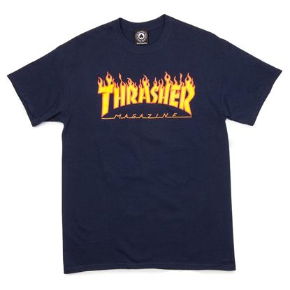 THRASHER MAGAZINE FLAME T-SHIRT NAVY M